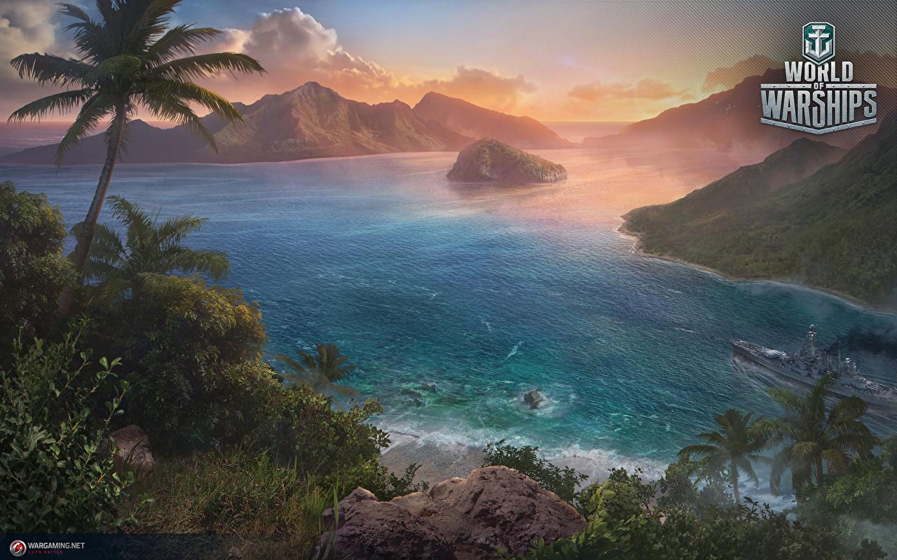 Bilder World Of Warship Solomon Islands Gebirge Insel Spiele Palmengewächse Palmen