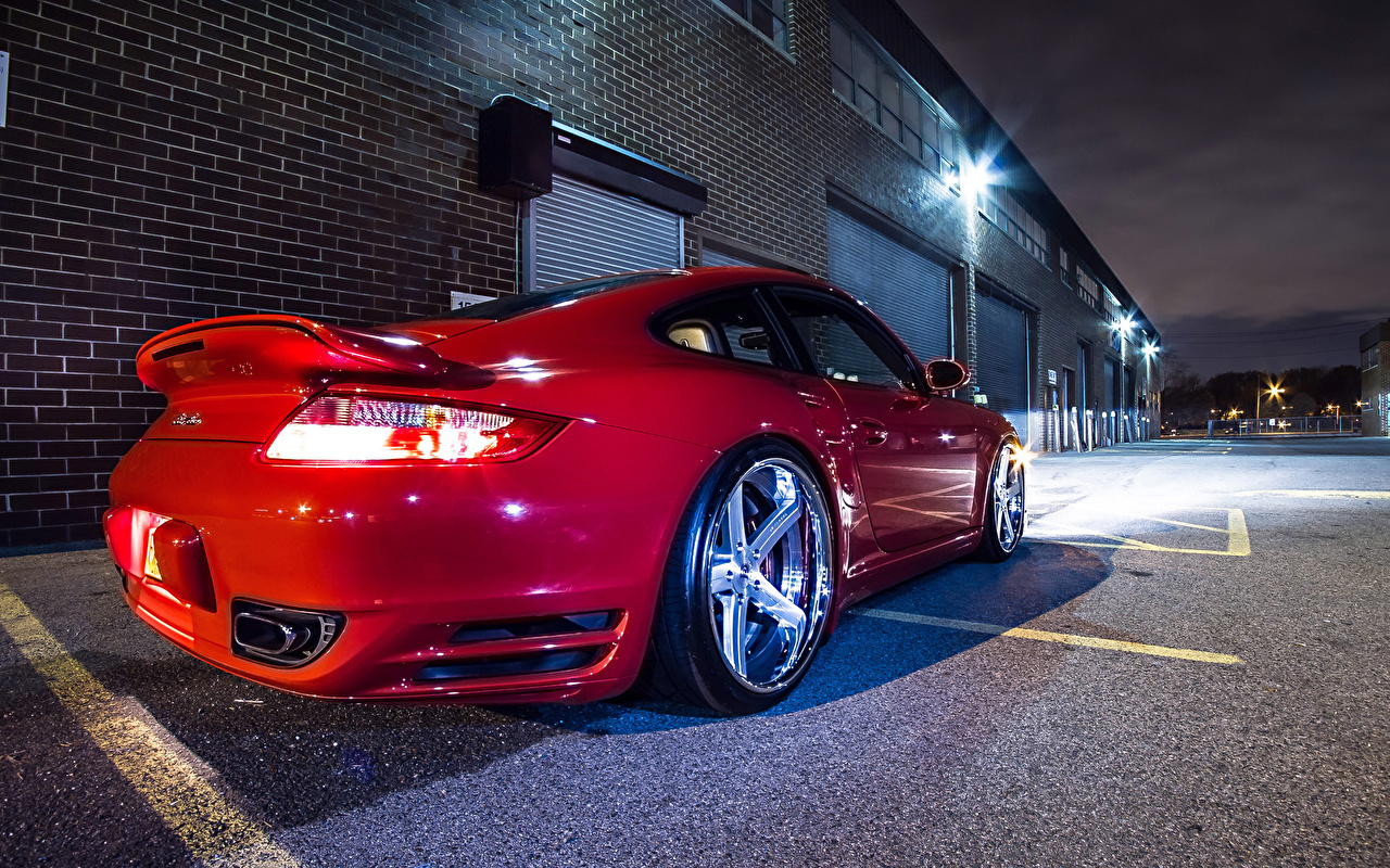 Photo Porsche 911 Turbo Red Cars Night Back view auto automobile night time