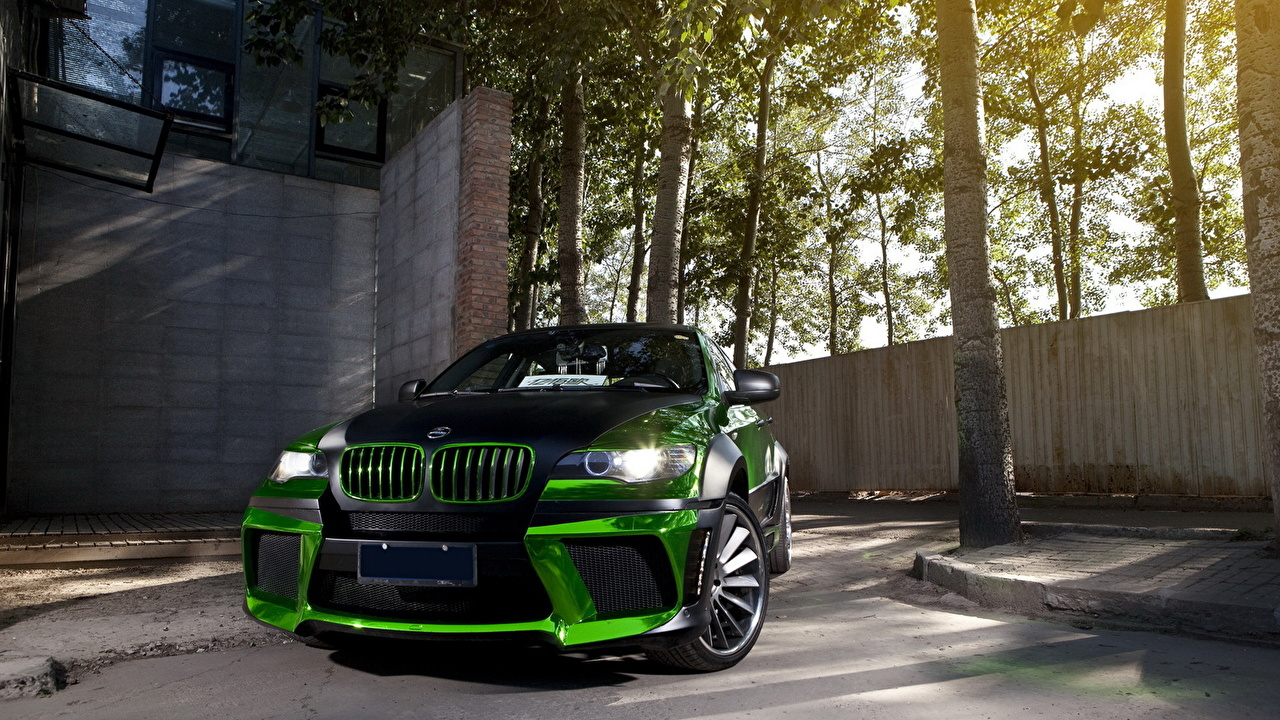 Images BMW Tuning x6 Green Cars Front auto automobile
