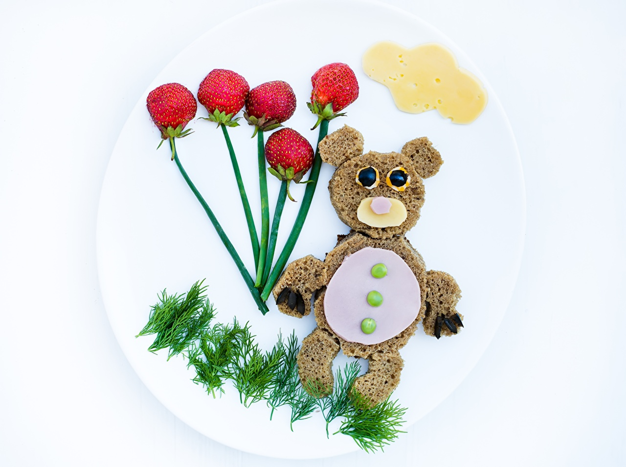 Wallpaper Bears Dill Bread Cheese Creative Strawberry Food Berry Plate bear