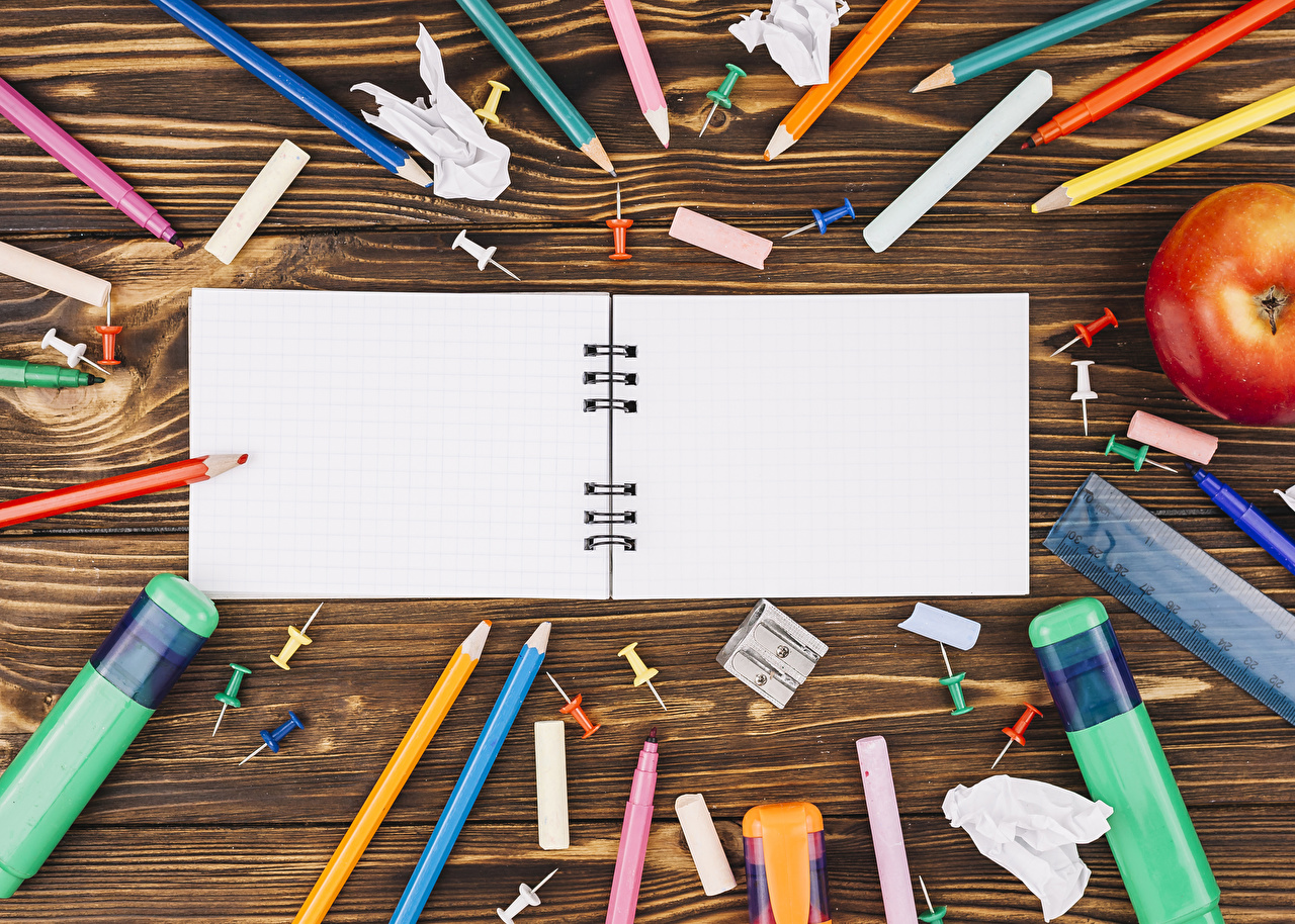 Image Stationery School Pencils Notebooks Boards Wood planks