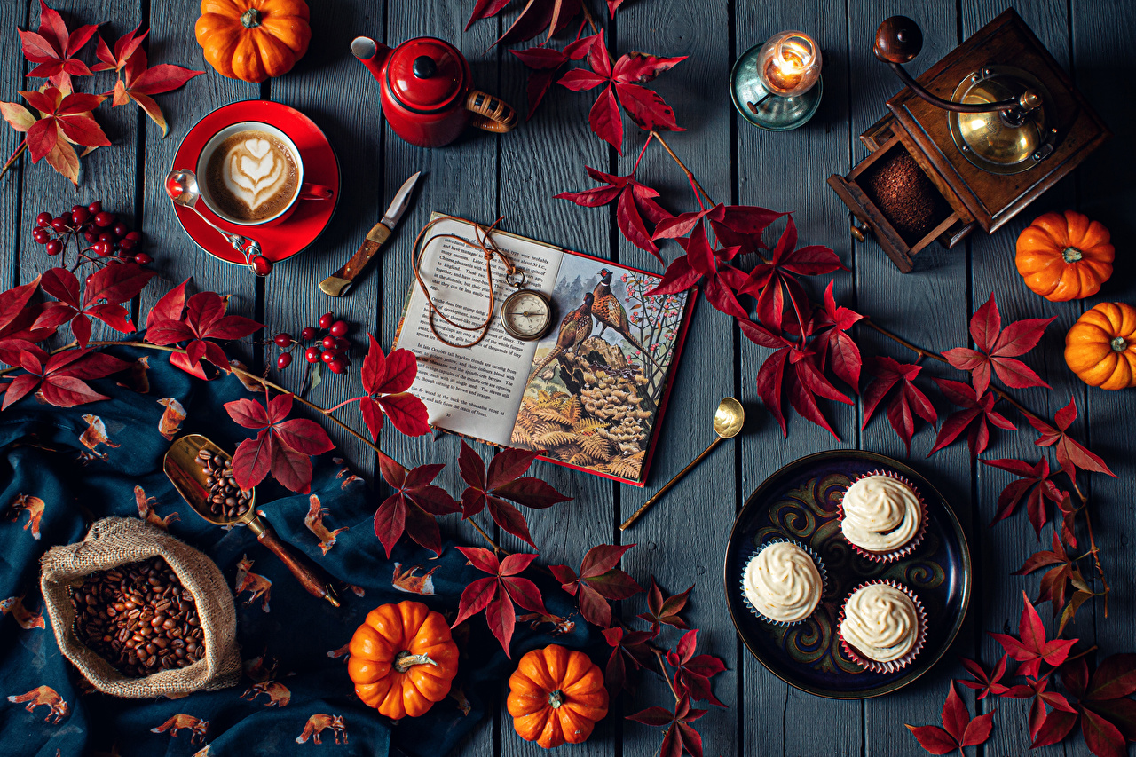 Photo Foliage Knife Pocket watch Autumn Coffee Pumpkin Cappuccino Grain Cup Food books Candles Still-life Little cakes boards Leaf Book Wood planks