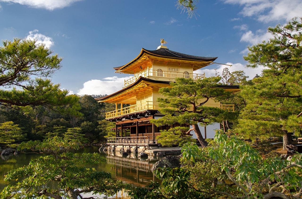 Desktop Hintergrundbilder Kyōto Japan Kinkaku-JI Garten Tempel Städte