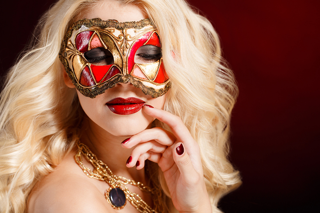 Wallpaper Blonde girl Manicure Face Girls Masks Fingers Red lips Colored background