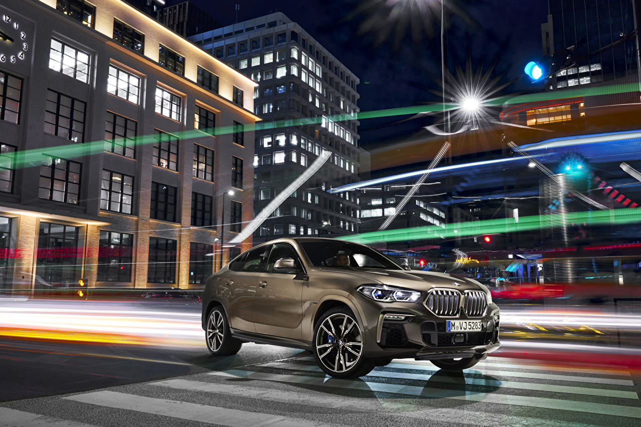 Desktop Wallpapers BMW Crossover 2019 X6 M50i Worldwide Brown automobile CUV Cars auto