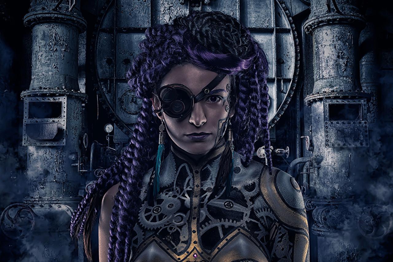 Photos Steampunk Braid hair Eye patch Gear Girls Fantasy