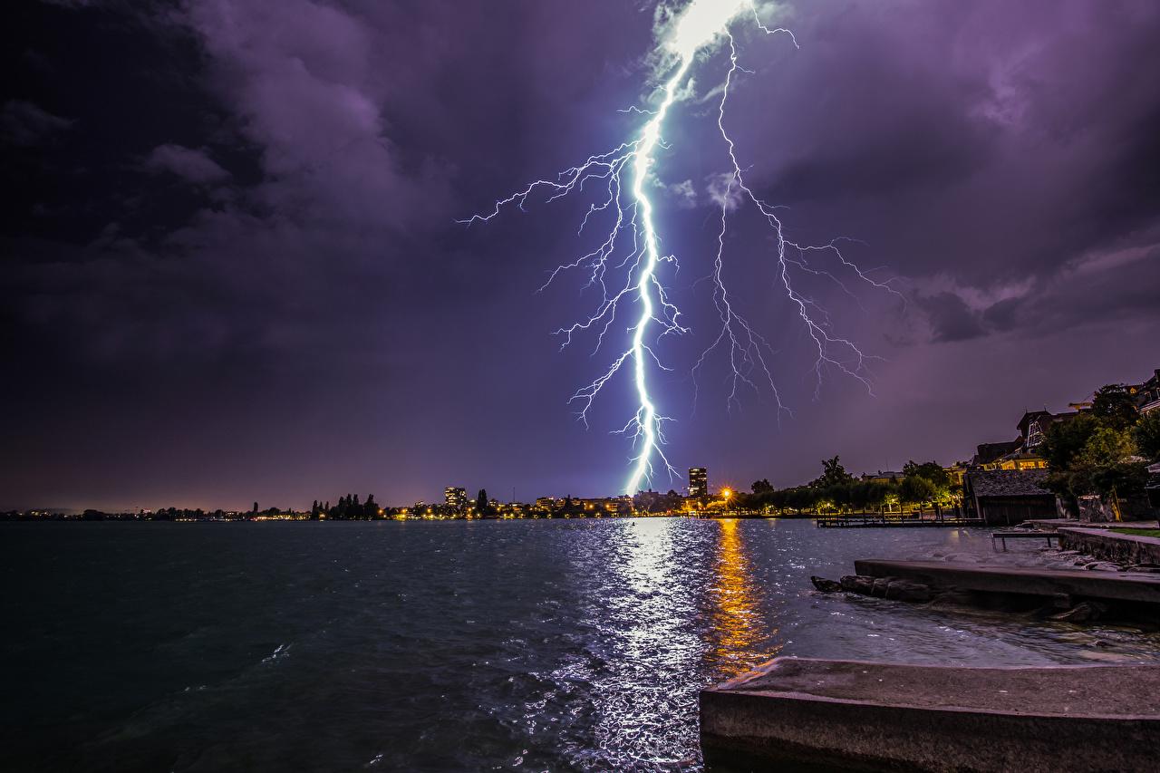 Image Switzerland Zugerberg Lightning Nature Lake Coast night time lightning bolts Night