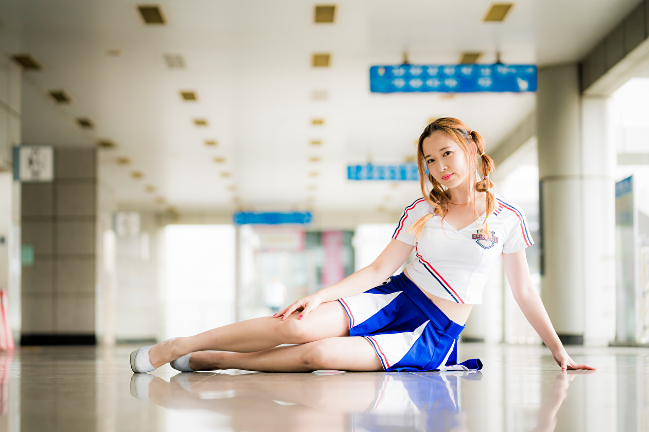 Picture Skirt Braid hair Bokeh Pose T-shirt young woman Legs Asiatic Staring plait blurred background posing Girls female Asian Glance