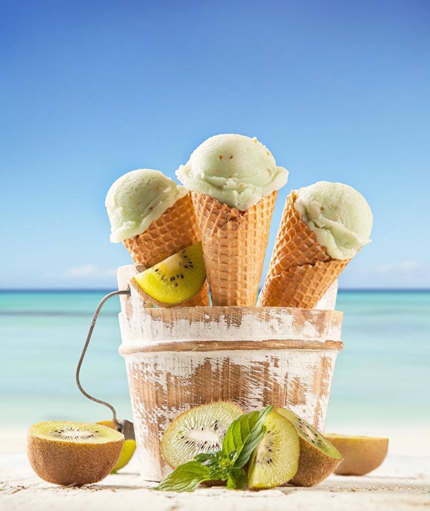 Photos Food Ice cream Chinese gooseberry Three 3 Ice cream cone  for Mobile phone Kiwi Kiwifruit