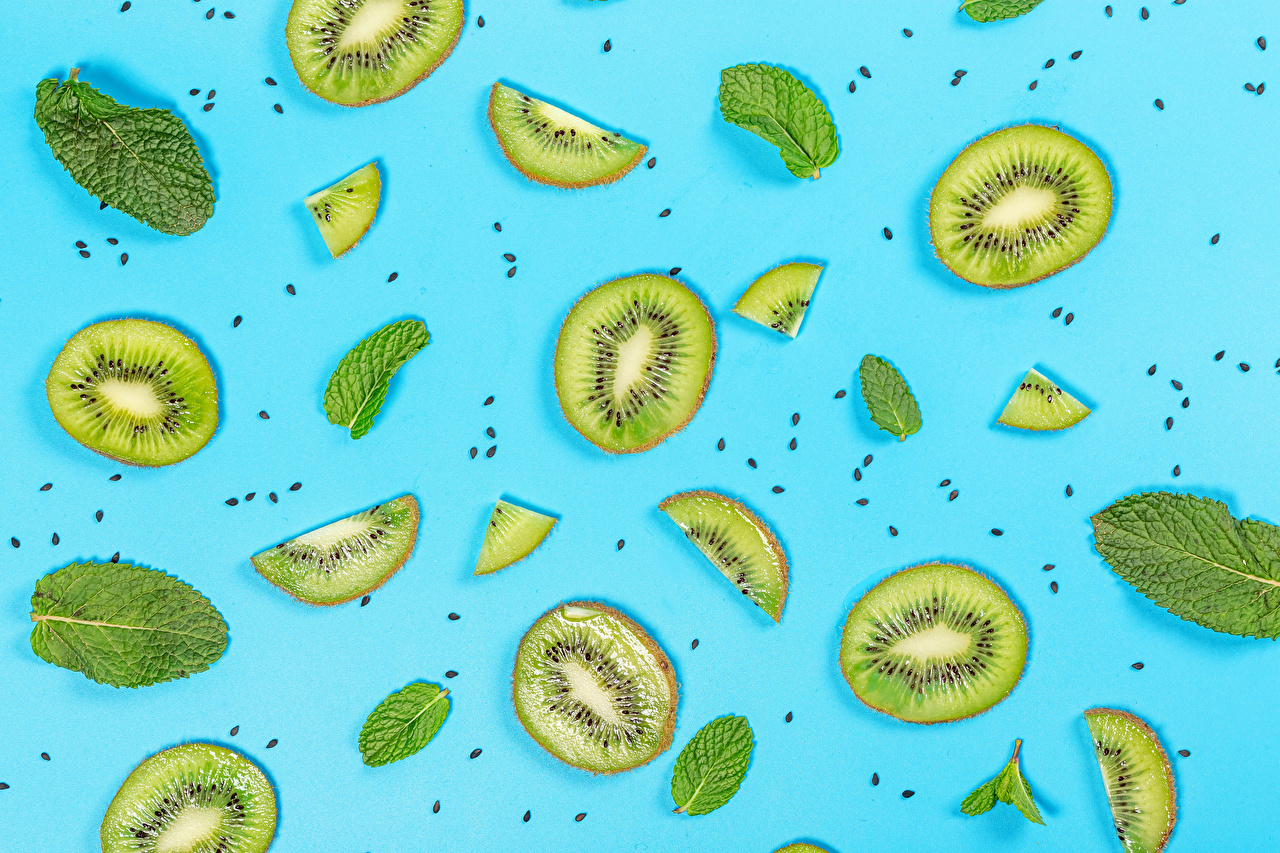 Pictures Foliage Grain pieces Chinese gooseberry Food Colored background Leaf Kiwi Piece Kiwifruit
