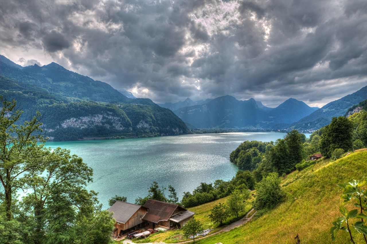 Wallpaper Alps Switzerland Lake Walensee Thundercloud HDR Nature mountain Building storm cloud HDRI Mountains Houses