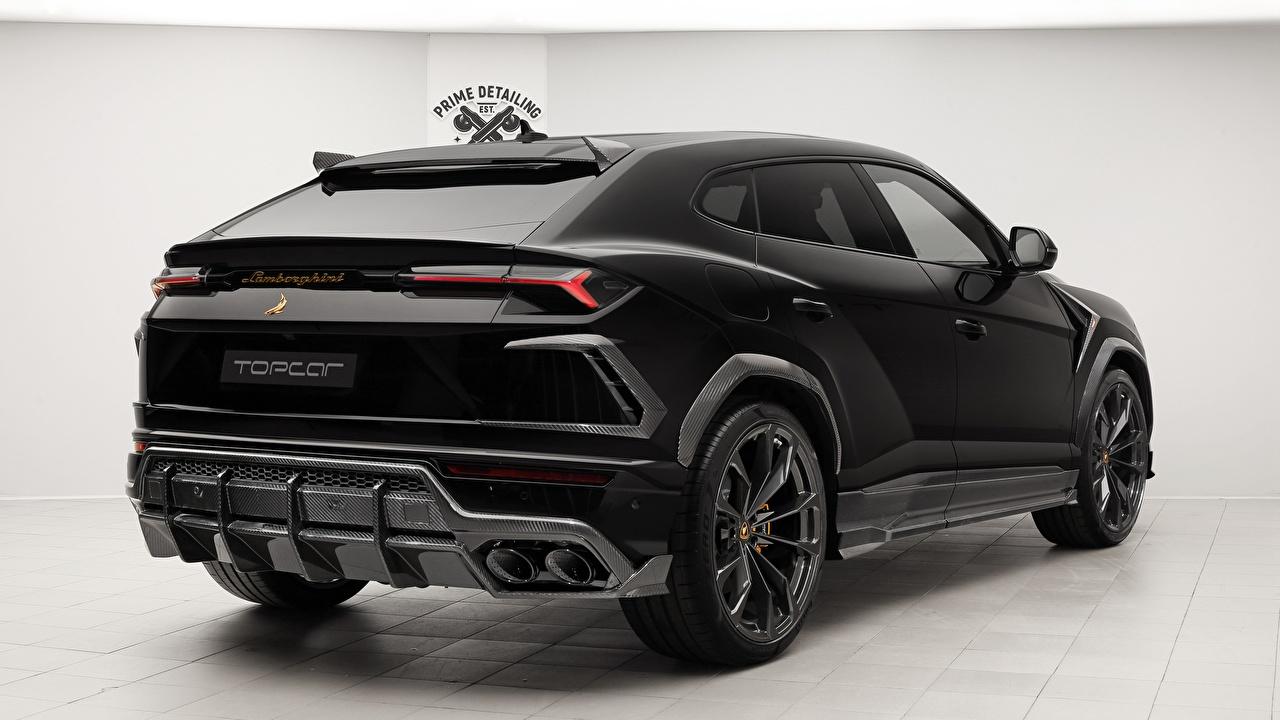 Wallpaper Lamborghini 2018 TopCar Urus Black Cars Back view auto automobile