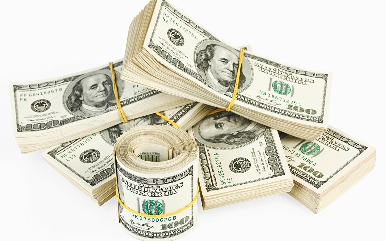 Sfondi del desktop Dollari Banconote Denaro Sfondo bianco