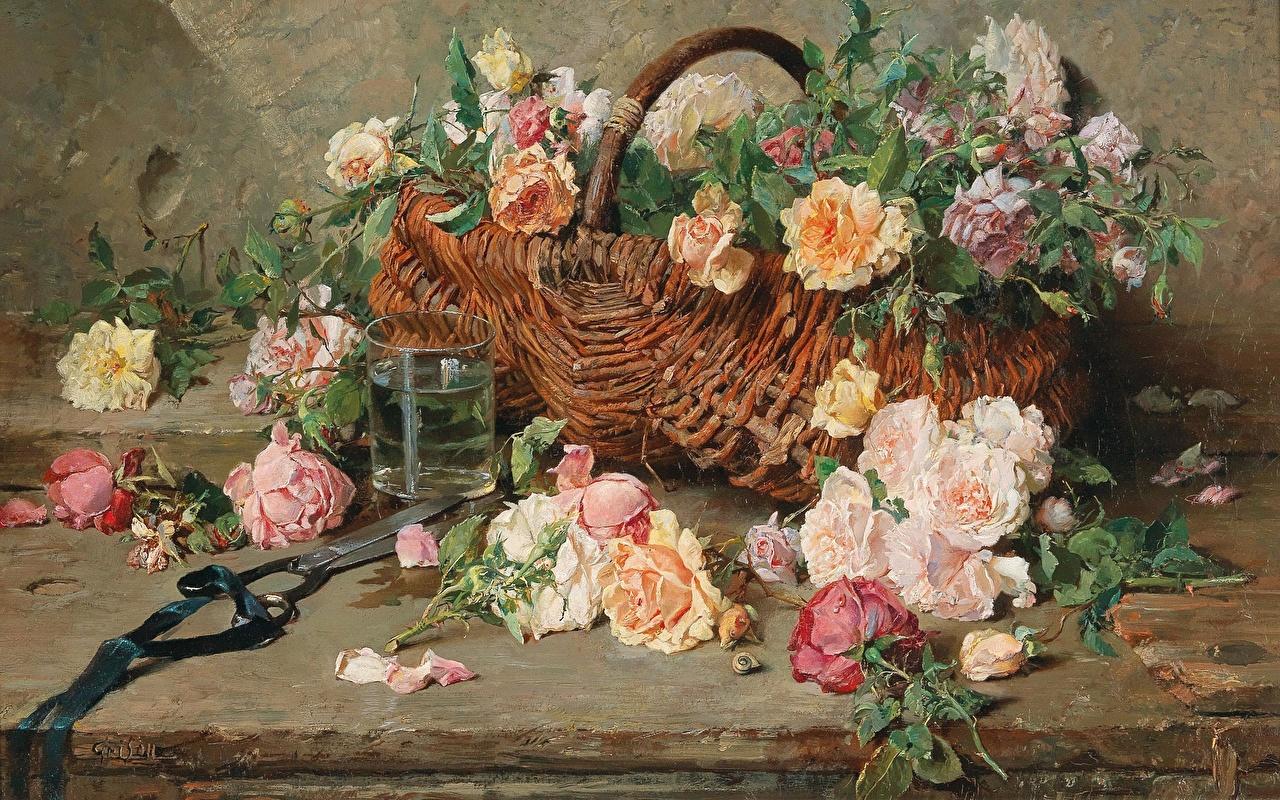 Desktop Hintergrundbilder French painter, Francois Adolphe, Still life of roses with basket Blüte Weidenkorb Gemälde Stillleben Blumen Malerei