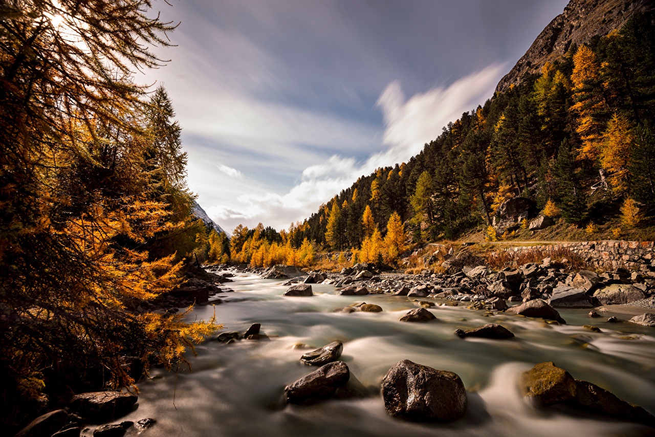 Images Alps Switzerland Val Roseg Nature Autumn Mountains stone Rivers Trees mountain river Stones