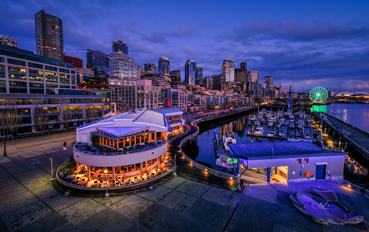 Images Seattle USA Cafe Berth Evening Cities Houses Pier Marinas Building