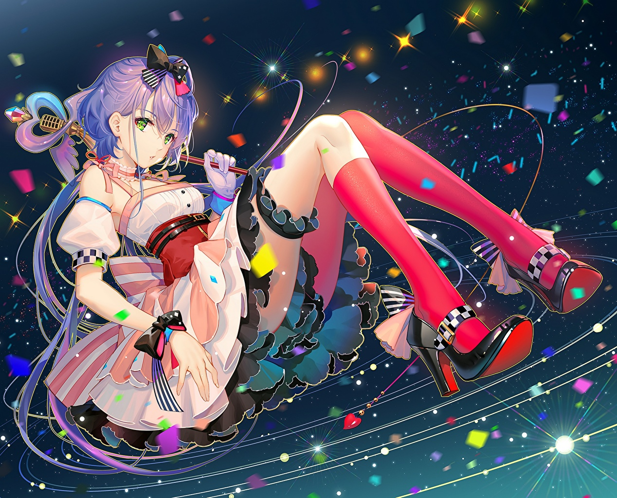 Photos Vocaloid Knee highs Luo Tianyi Anime Legs Sitting sit
