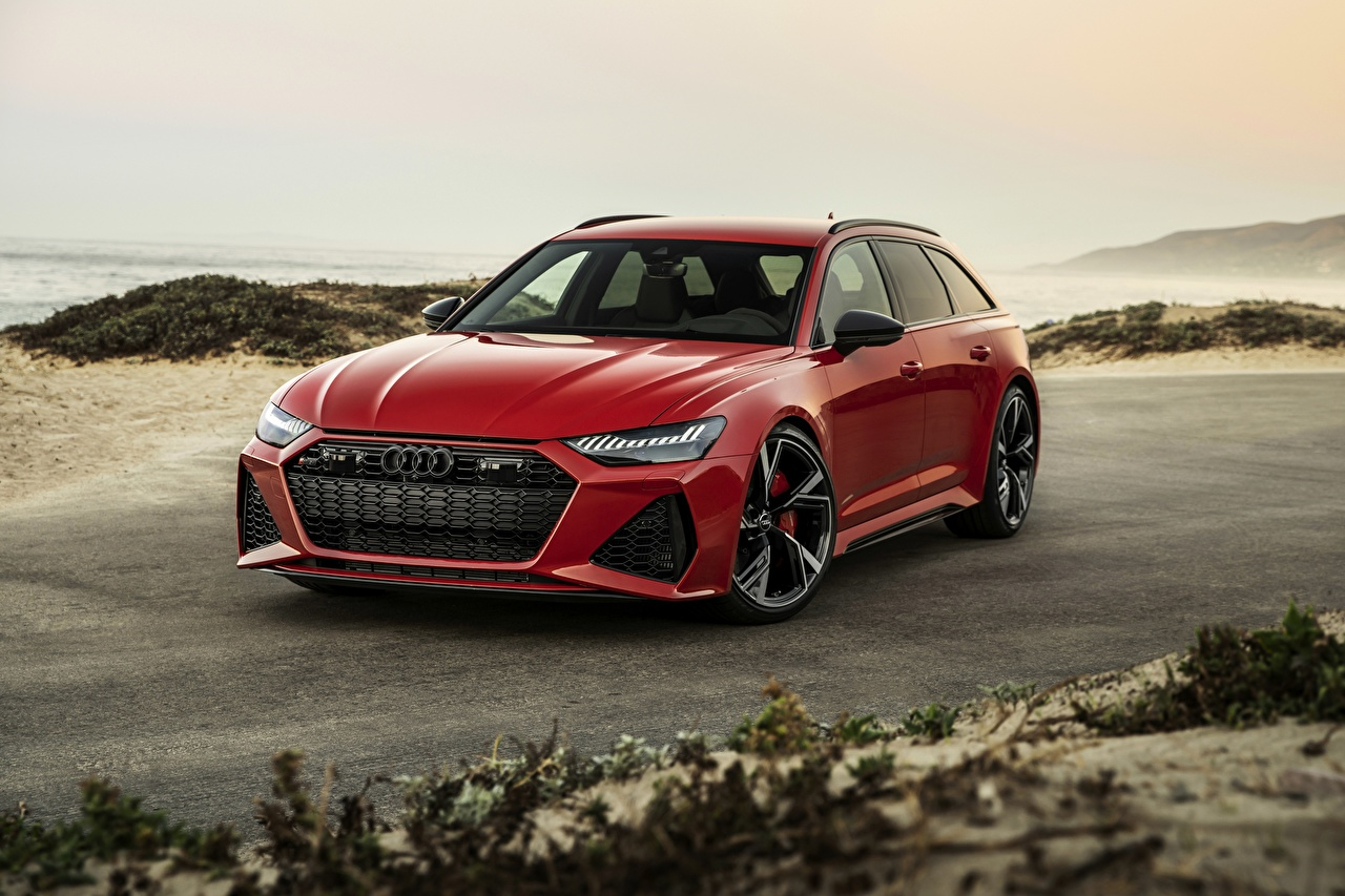 Pictures Audi Estate car 2020 2019 V8 Twin-Turbo RS6 Avant Red automobile Station wagon Cars auto