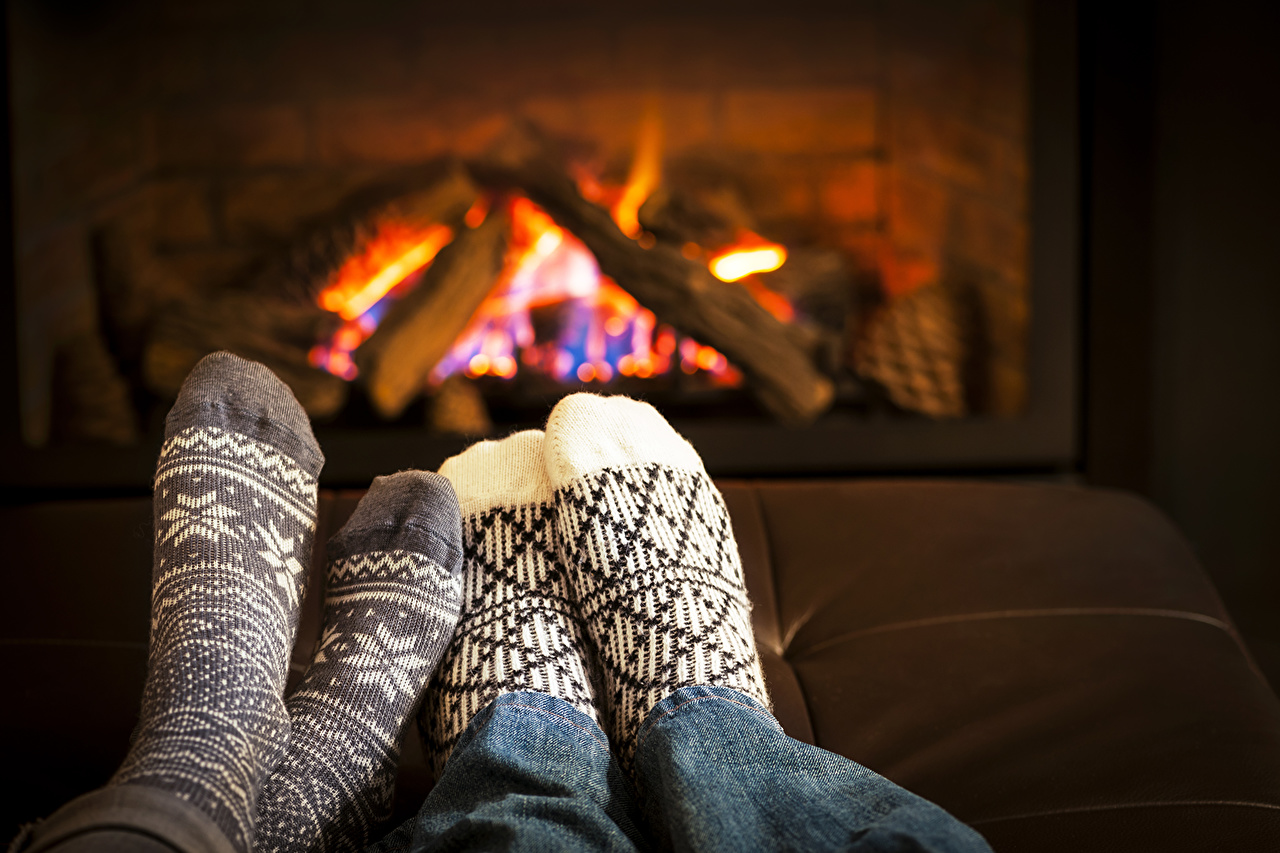 Photo Socks Legs Fireplace