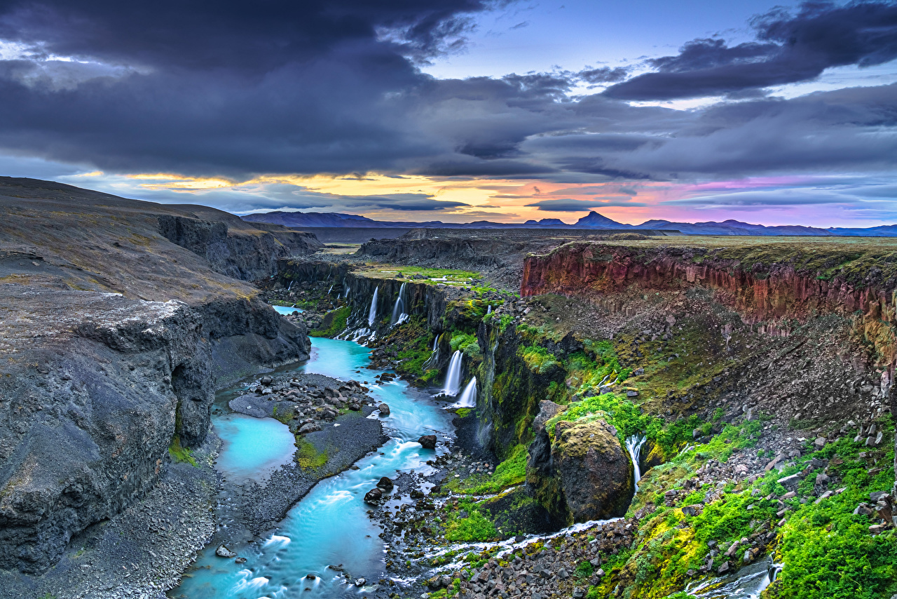 Pictures Iceland Nature canyons landscape photography Clouds Canyon Scenery