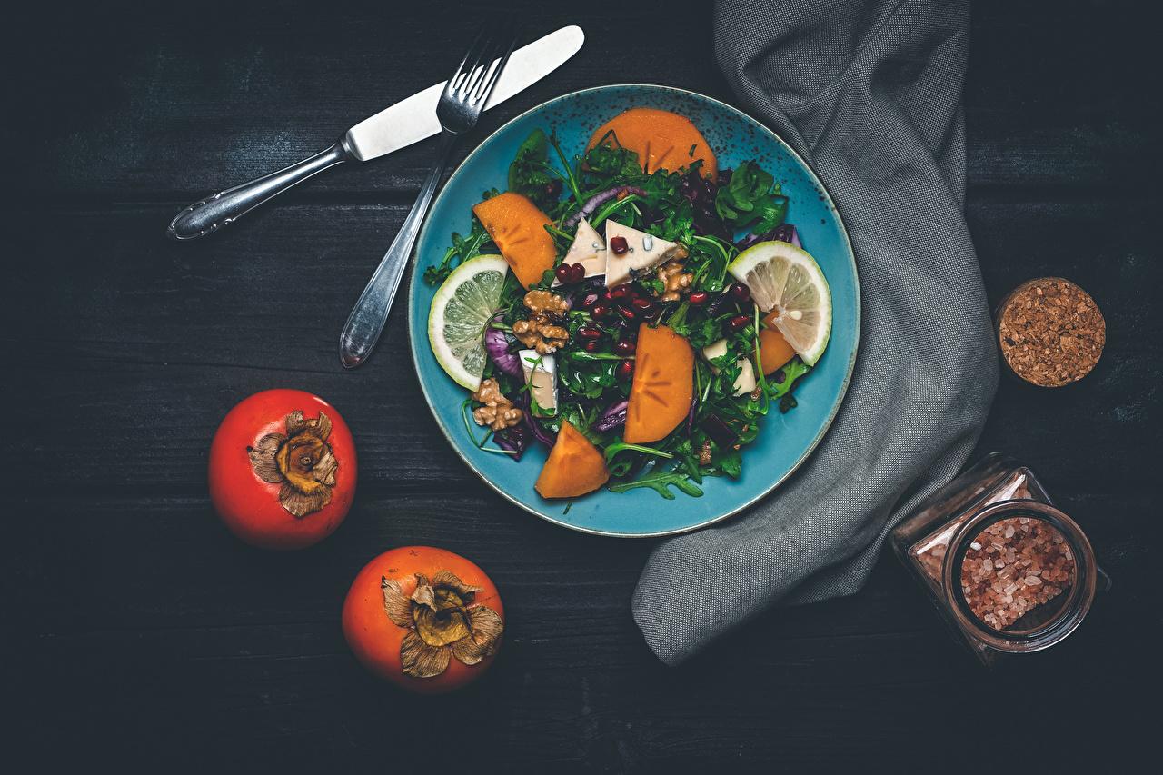Desktop Wallpapers Knife Persimmon Fork Food Fruit Plate Salads Vegetables kaki