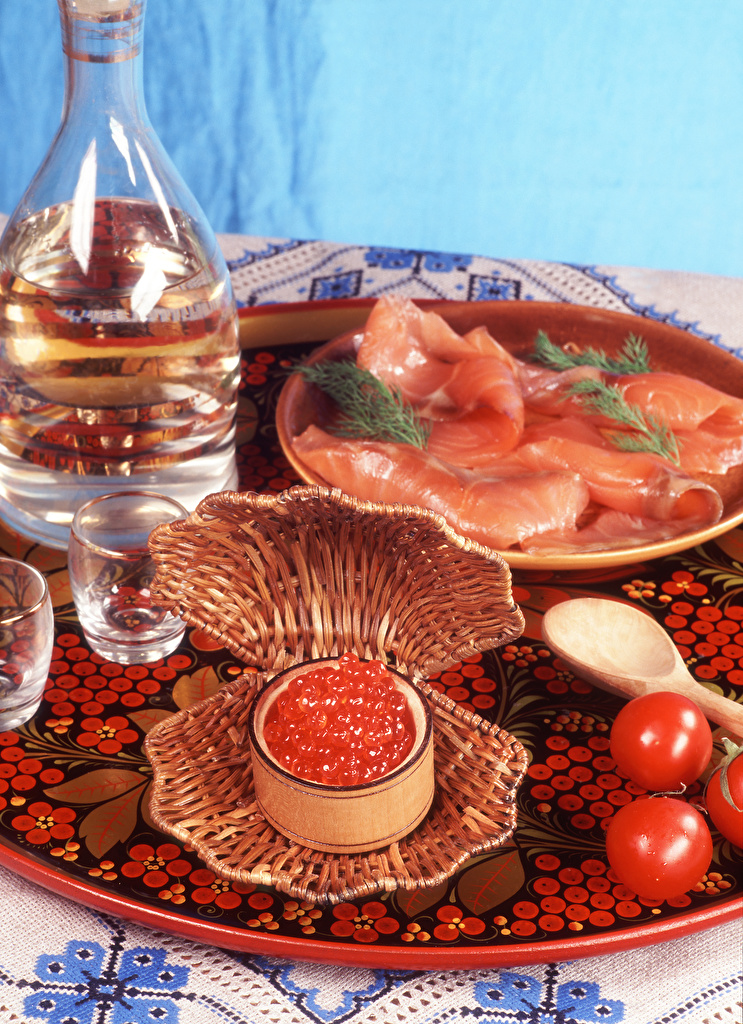 Desktop Wallpapers Vodka Tomatoes Ham Caviar Food Seafoods  for Mobile phone Roe