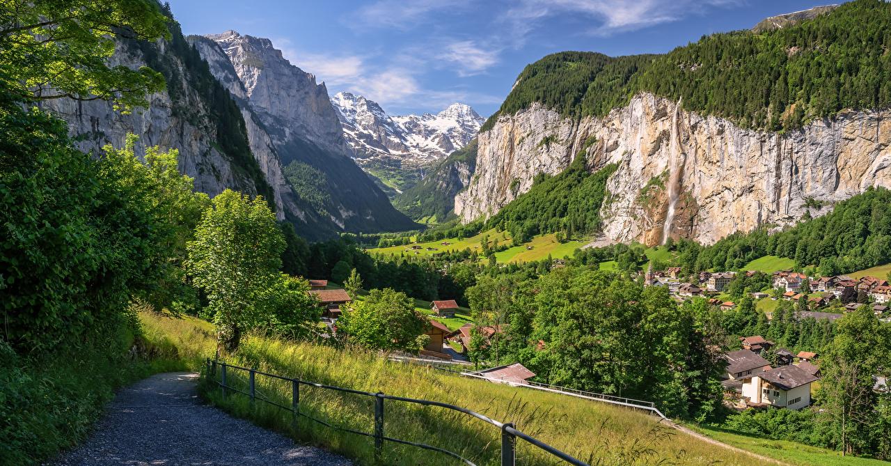 Photo Nature Cliff Switzerland Lauterbrunnen Alps Panorama Mountains Crag Rock mountain panoramic