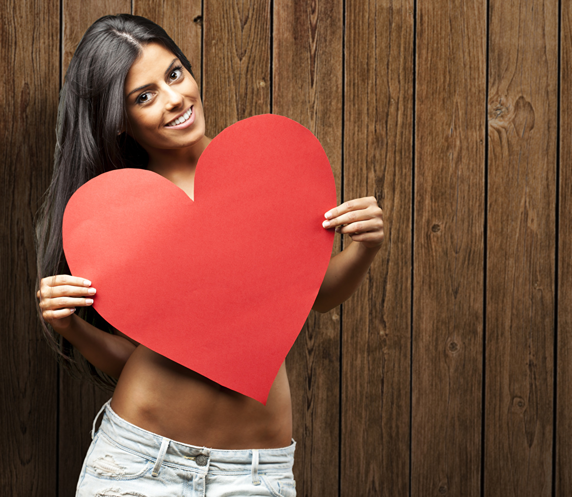 Picture Valentine's Day Brunette girl Smile Heart Girls Wood planks female young woman boards
