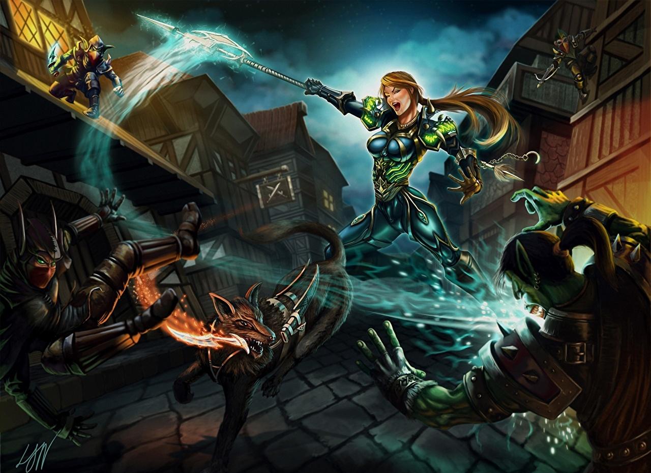 Wallpaper Wow Orc Battle Axes Hunter Night Elves Girls Fantasy