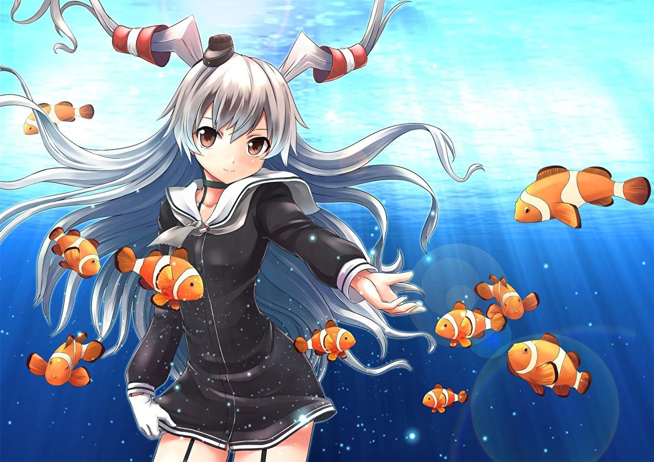 壁紙 艦隊これくしょん 艦これ 魚類 Amatsukaze 髪 女子学生
