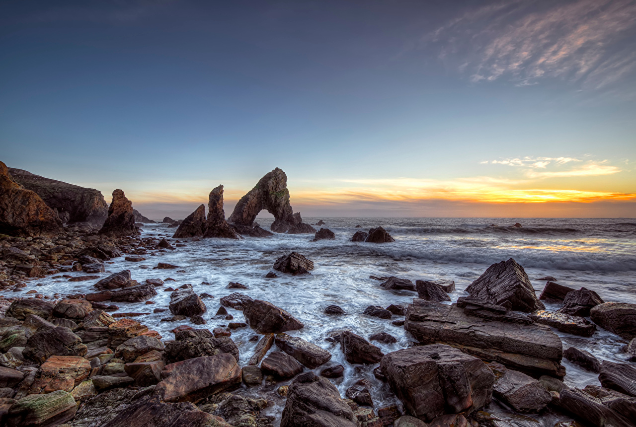 Picture Ireland Donegal, Sea Arch Stack Cliff Nature Sky Coast Stones Crag Rock stone