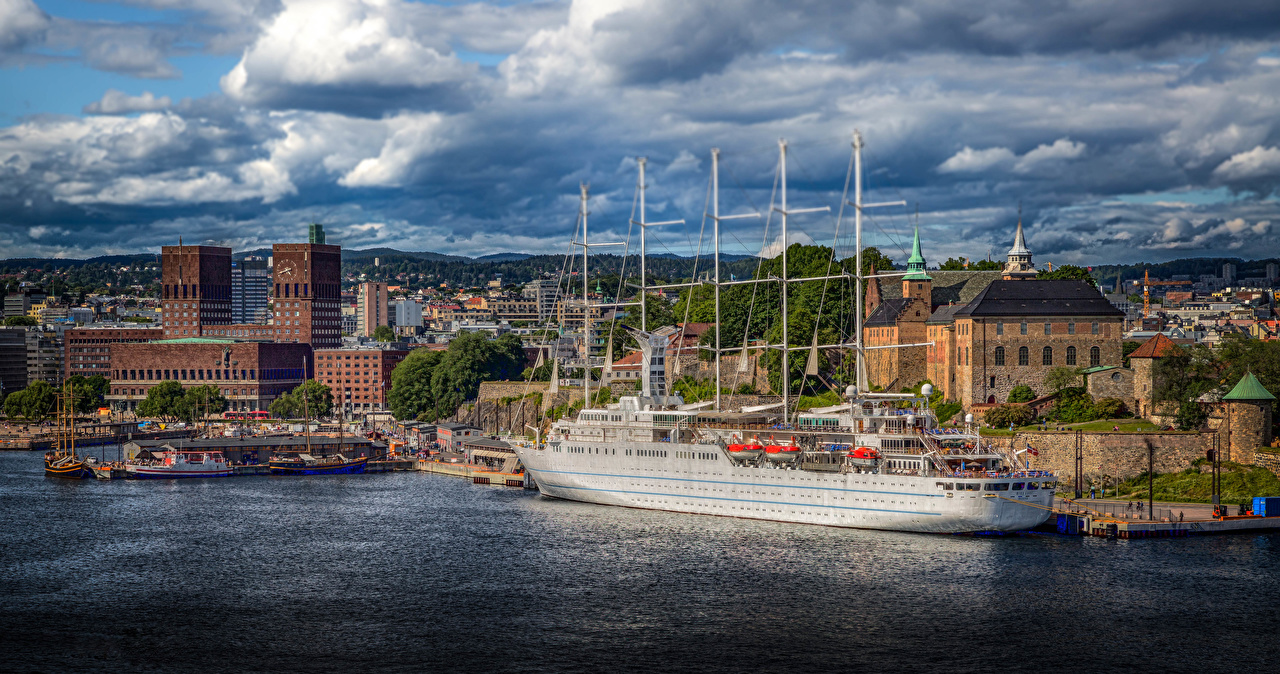 Photo Oslo Norway Ships Houses Clouds Cities ship Building