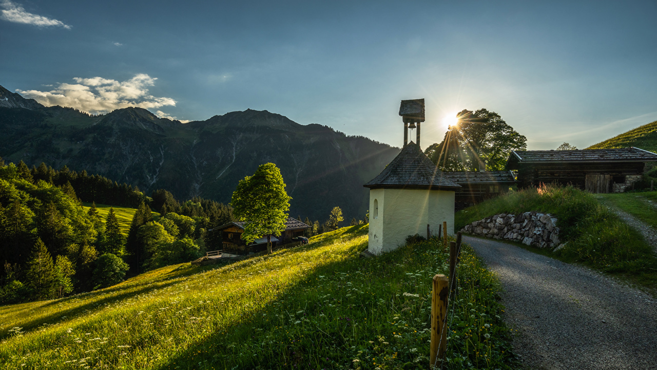 Photos Rays of light Germany Nature Mountains Roads Grass Trees Building mountain Houses