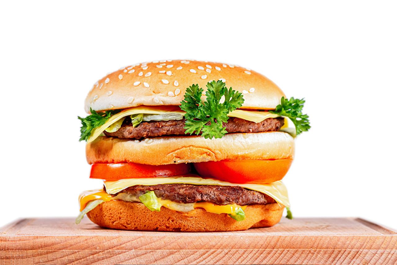 Image Frikadeller Hamburger Food Vegetables Cutting board White background rissole meatballs