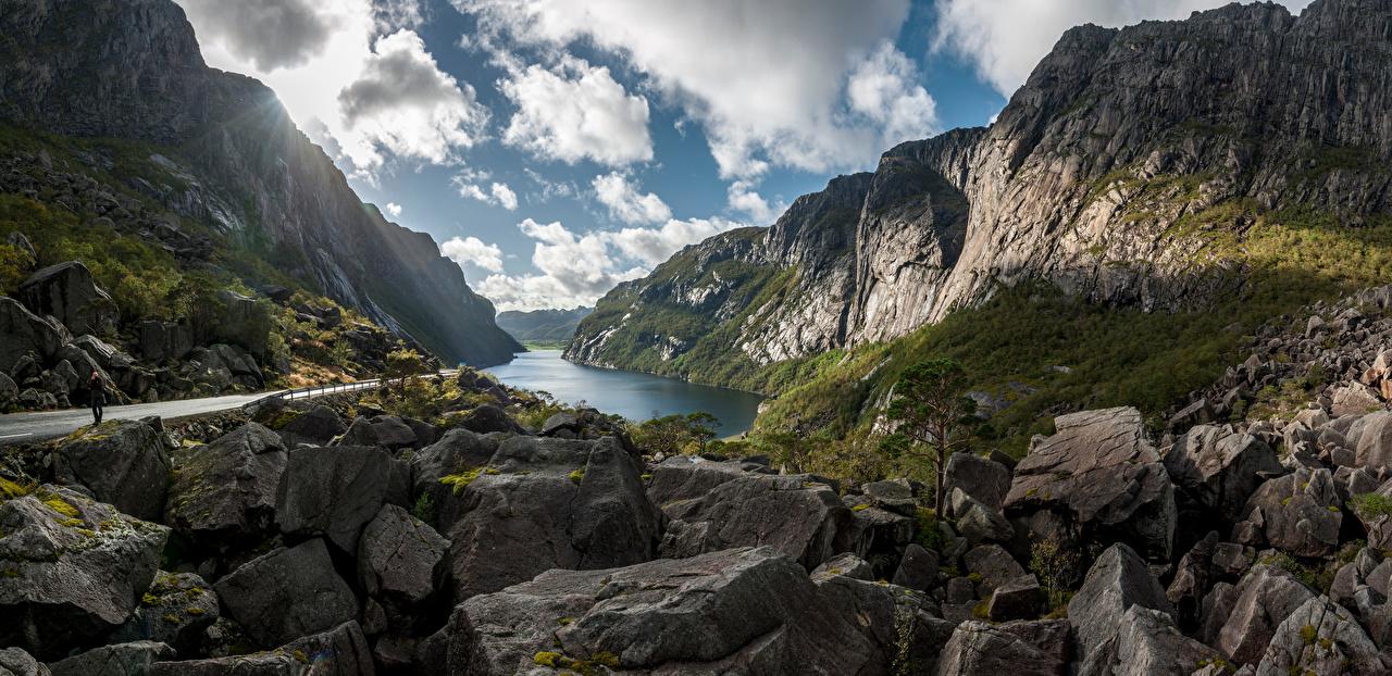 Картинки Природа Норвегия Bjerkreim гора облачно Панорама Камень Скала Горы Облака облако панорамная Камни Утес скале скалы