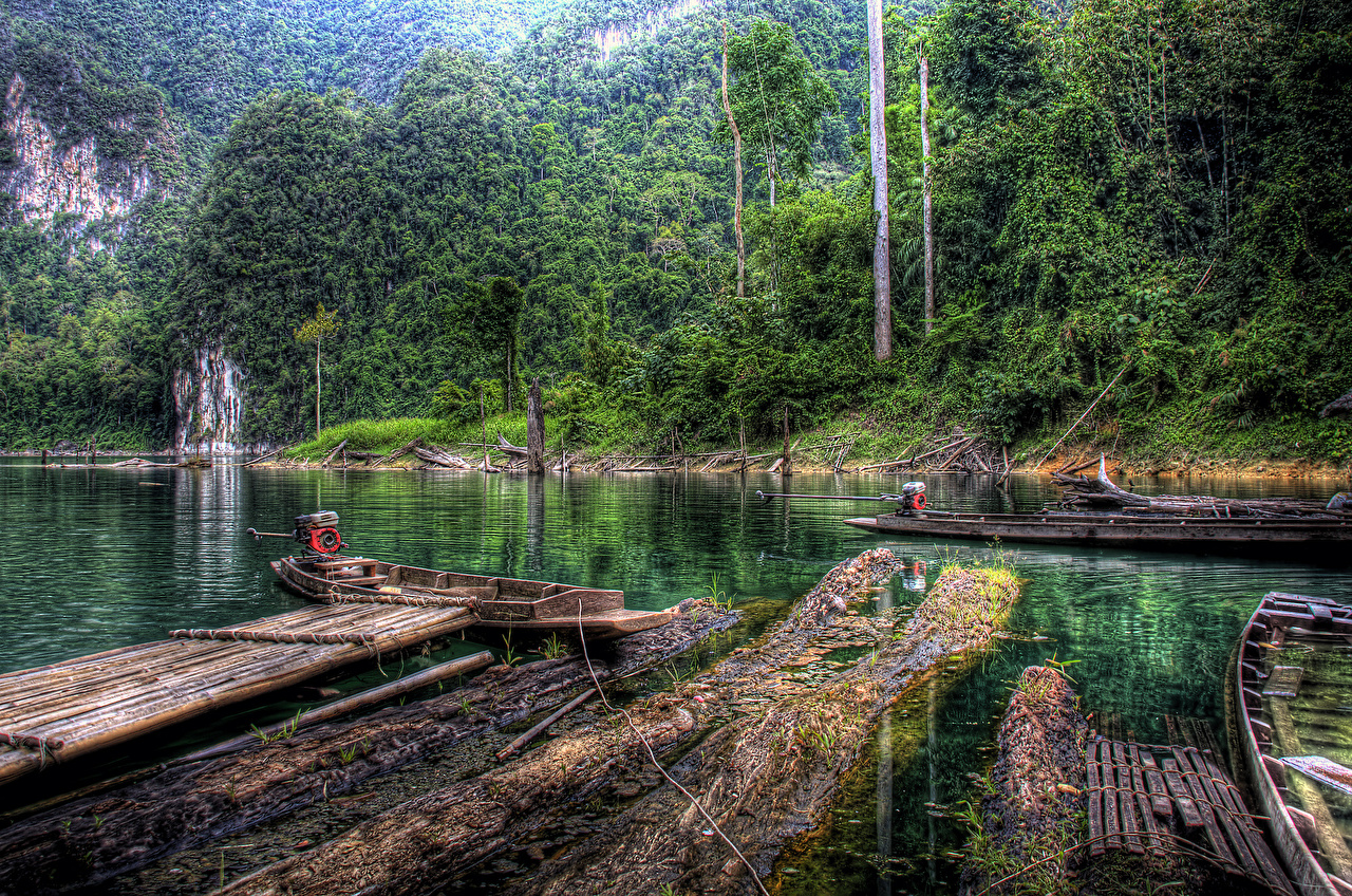 Wallpaper Thailand Khao Sok National Park HDR Nature park forest river Berth Boats HDRI Parks Forests Pier Rivers Marinas