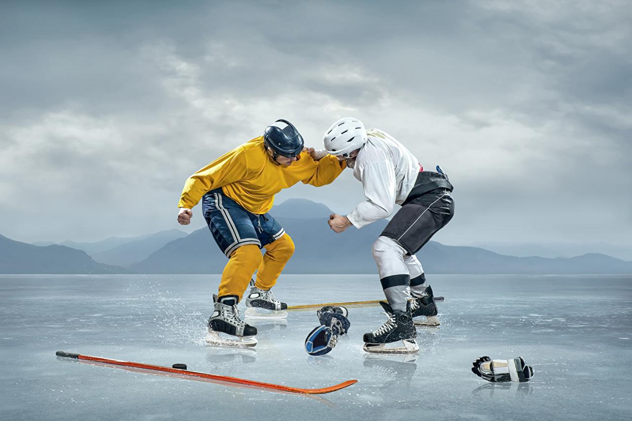 Bilder von Eisbahn 2 Sport Schlägerei Hockey Uniform Kunsteisbahn Zwei