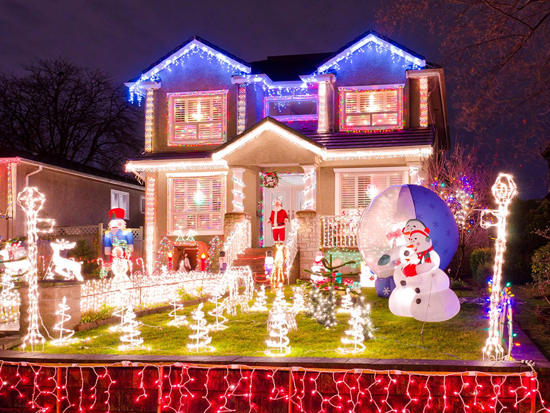 Casa Feriados Ano-Novo Mansão Relvado Luzes de Natal Revérbero Edifício Cidades
