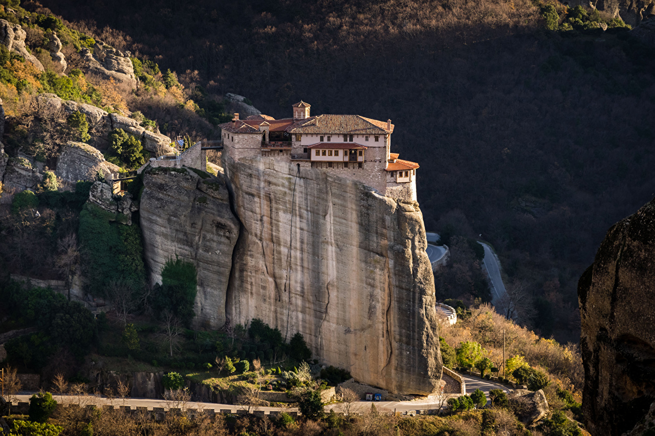 Pictures Greece Monastery Rousanou, Meteora Cliff Cities Building Crag Rock Houses