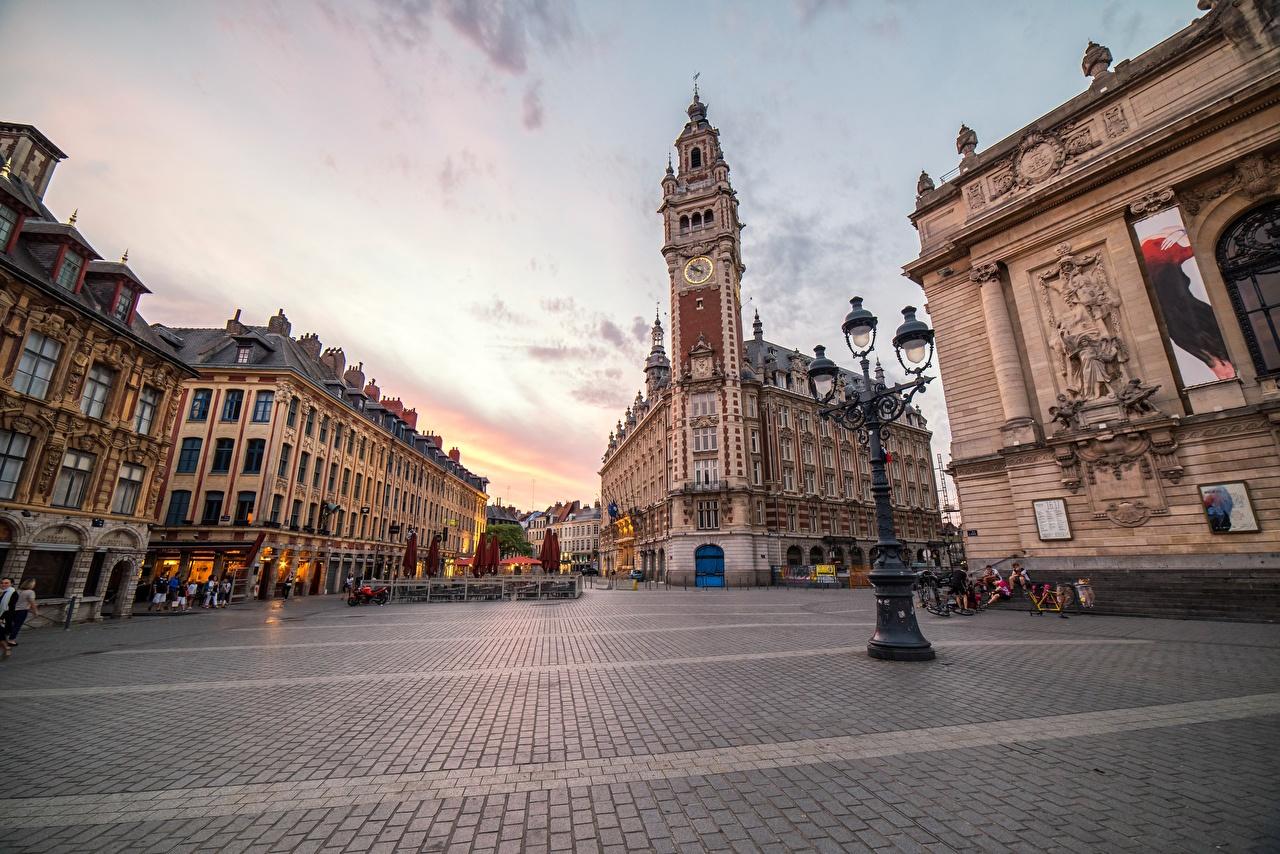 Bilde Frankrike Lille Gate Fortau Gatelykter Byer bygninger Gatebelysning Hus byen en by bygning