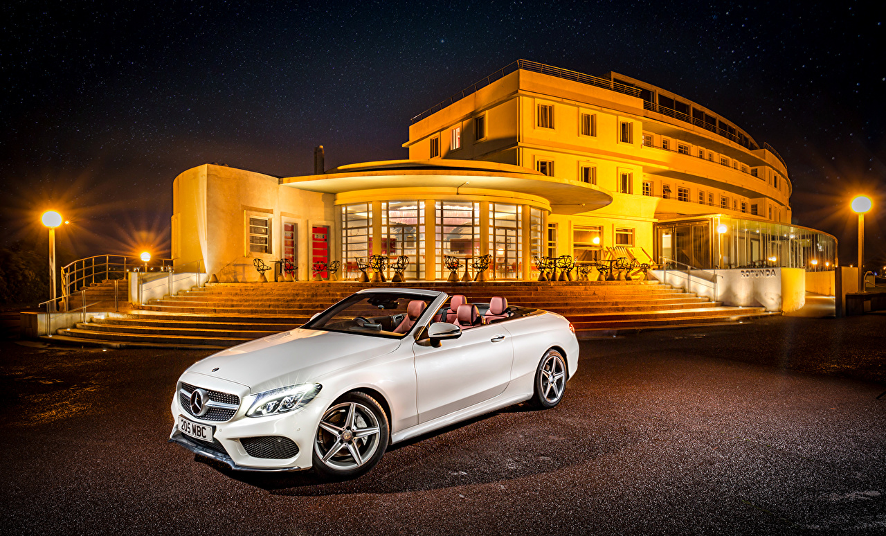 Wallpaper Mercedes-Benz 2016 C 220 d AMG Line Cabriolet White Cars Night Convertible auto night time automobile