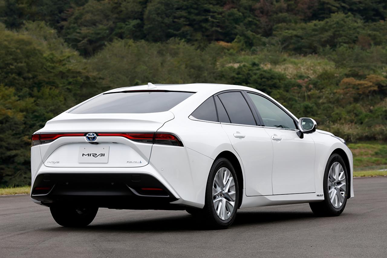 Photo Toyota Mirai G Executive Package, JP-spec, 2020 White auto Metallic Back view Cars automobile