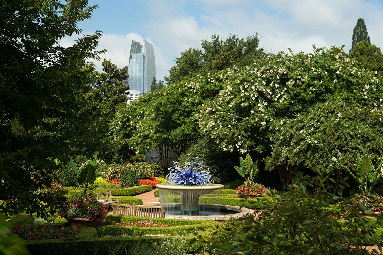 Bakgrunnsbilder til skrivebordet USA Fontener Atlanta Missouri Botanical Garden Natur Hage Trær Busker amerika