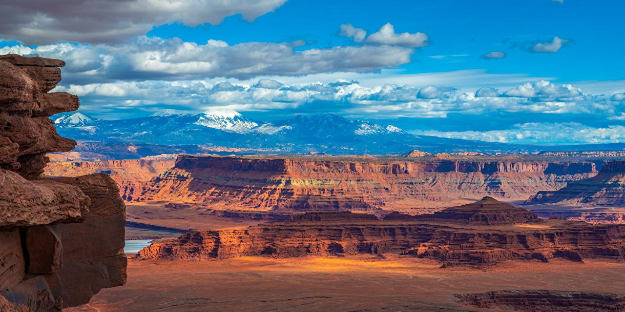 Achtergronden verenigde staten Panorama Canyonlands National Park, Utah Bergen ravijn Natuur falesia Parken Landschap van Amerika panoramische berg Kloof klif landform park