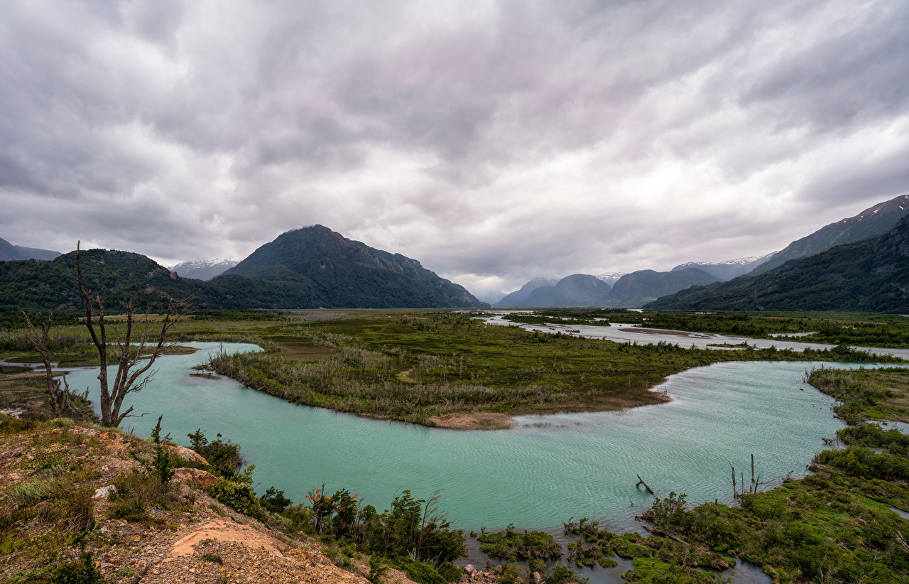 Images Chile Patagonia Nature Mountains Rivers Clouds mountain river