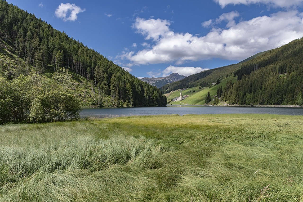 Pictures Italy Lake Valdurna, Sarentino, Bolzano Nature mountain forest Grass Mountains Forests