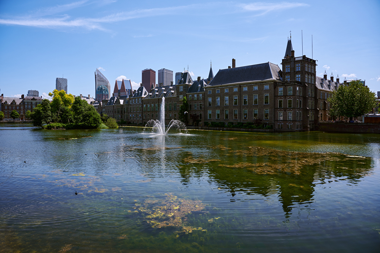 Wallpaper Netherlands Fountains Hague Bay Houses Cities Building