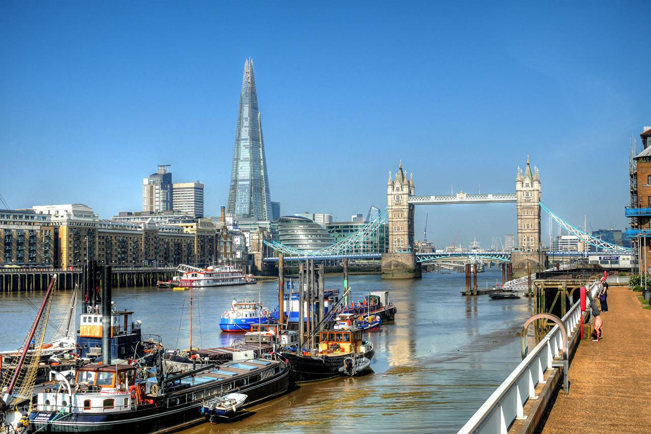 Bilder London England Brücke Binnenschiff Flusse Waterfront Haus Städte Brücken Fluss Gebäude