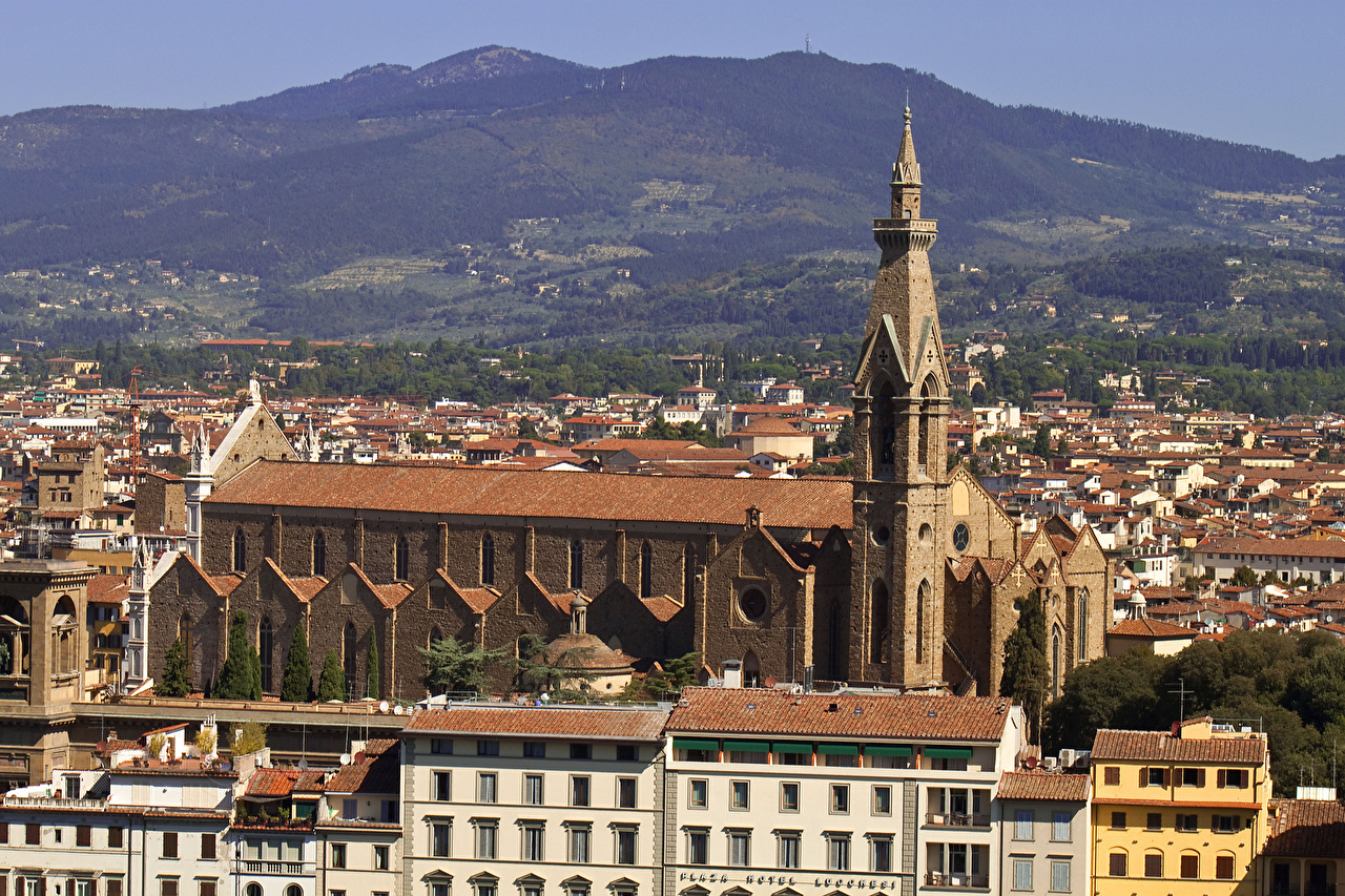 Image Florence Italy Basilica of Santa Croce Houses Cities Building