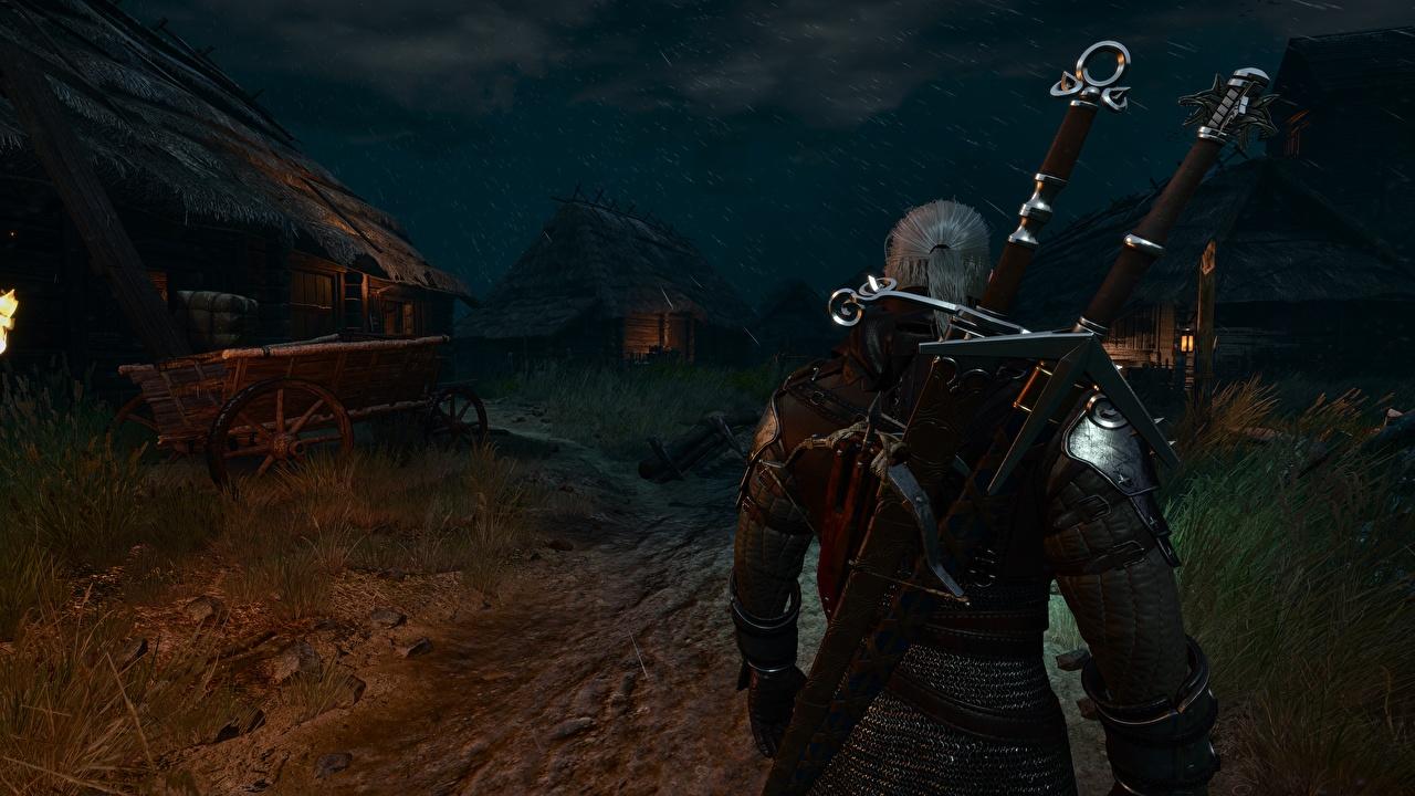 、ウォリアーズ、魔法剣士ゲラルト、The Witcher 3: Wild Hunt、剣、の背面図、夜、村、��ンピュータゲーム、ゲーム、3Dグラフィックス、
